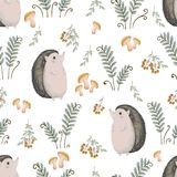 Seamless pattern with hedgehog, fern, mushrooms, tree branches and berries. Cute cartoon characters. Hand drawn vector illustration in watercolor style Stock Photo