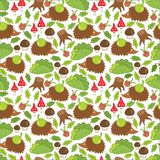 Seamless pattern hedgehog in a forest clearing Royalty Free Stock Photography