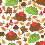 Seamless pattern hedgehog in a forest clearing Royalty Free Stock Photo