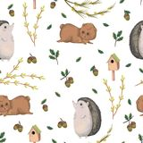 Seamless pattern with hedgehog, teddy bear, oak and acorn and tree branches. Cute cartoon characters. Hand drawn vector illustration in watercolor style Stock Image