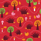 Seamless pattern with hedgehogs stock photography