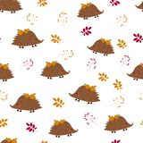 Seamless pattern: hedgehogs with apples and berries, leaves on a white background. Flat vector. Il stock illustration