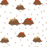 Seamless pattern: hedgehogs, mushrooms, apples, footprints on a white background. Flat vector. vector illustration