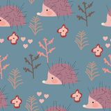 Seamless pattern with hedgehogs vector illustration