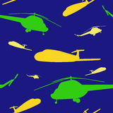 Seamless pattern with helicopters and airplanes Royalty Free Stock Images
