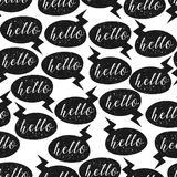 Seamless pattern with Hello speech bubbles. Vector. Illustration Royalty Free Stock Photography