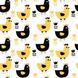 Seamless pattern with hens and flowers. Modern seamless pattern with hens and flowers in yellow and black for textile, wrapping paper, scrapbook Royalty Free Stock Photo