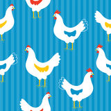 Seamless pattern with hens. Funny design Stock Images