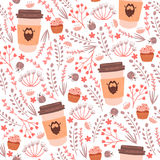 Seamless pattern with herbs and coffee cups. Royalty Free Stock Photo