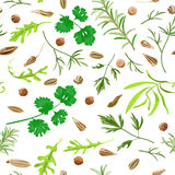 Seamless pattern herbs and spices. Decorative colorful background can be used in posters, wallpapers, textile. Vector illustration Royalty Free Stock Images