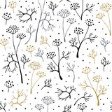 Seamless pattern with herbs on white background. Beautiful print royalty free illustration