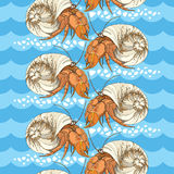 Seamless pattern with Hermit Crab in the round shell on the background with blue waves and pebbles in white. Royalty Free Stock Photo