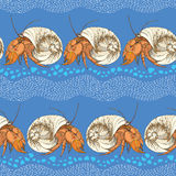Seamless pattern with Hermit Crab in the round shell on the blue background with striped white waves and blue pebbles. Stock Photos