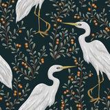 Seamless pattern with heron bird and cranberry plant. Rustic botanical background. Vintage hand drawn vector illustration in watercolor style Stock Photography