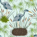 Seamless pattern with heron bird, nest and swamp plants. Marsh flora and fauna. Isolated elements Vintage hand drawn vector illustration in watercolor style Stock Photo