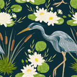 Seamless pattern with heron bird, water lily and bulrush. Swamp flora and fauna. Vintage hand drawn vector illustration in watercolor style Royalty Free Stock Images