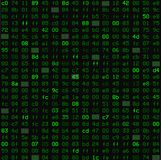 Seamless pattern with hex program code in green, like old monitors or in the Matrix. Vector illustration Royalty Free Stock Image