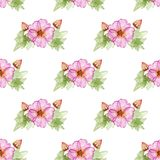 Seamless pattern with hibiscus flowers. Seamless pattern with hibiscus flowers and buds Royalty Free Stock Photos