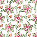 Seamless pattern with hibiscus flowers, buds, leaves, hearts. Seamless pattern with hibiscus flowers, buds, leaves and hearts Stock Photography