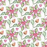 Seamless pattern with hibiscus flowers, buds, leaves, hearts. Seamless pattern with hibiscus flowers, buds, leaves and hearts Royalty Free Stock Photography