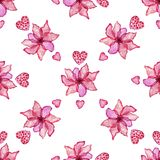 Seamless pattern with hibiscus flowers, hearts. Seamless pattern with hibiscus flowers and hearts Stock Photography