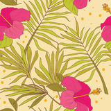 Seamless pattern with hibiscus flowers and palm leaves Stock Photography