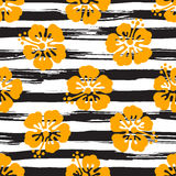 Seamless pattern with hibiscus flowers on striped background. Tropical summer illustration. Vector Stock Image