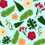 Seamless Pattern of Hibiscus and Leaves on Light Blue Background Stock Photos
