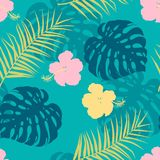 Seamless pattern with hibiscus and palm leaves royalty free stock photos