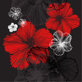 Seamless pattern with hibiscus, vector illustration. Royalty Free Stock Photos