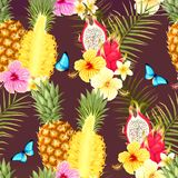 Seamless pattern with pineapple fruits royalty free illustration