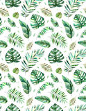 Seamless pattern with high quality hand painted watercolor tropical leaves.Tropical forest collection. stock illustration