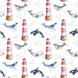 Seamless pattern with high quality handpainted watercolor whales,seashells and lighthouse in pastel colors. Royalty Free Stock Photography