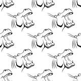 Seamless pattern of a hippo with an open mouth Stock Images