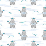Seamless pattern with Hippo Sailor.. Royalty Free Stock Photos