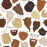 Seamless pattern of hipster beards and eyeglasses. Stock Photo