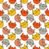 Seamless pattern with Hipster Cute Cats. Funny lovely Cats. Cloth design, wallpaper. Textile rapport Royalty Free Stock Image