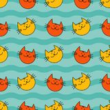 Seamless pattern with Hipster Cute Cats. Funny lovely Cats. Cloth design, wallpaper. Textile rapport Royalty Free Stock Photo