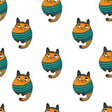 Seamless pattern with hipster cute cats vector illustration. Stock Photo