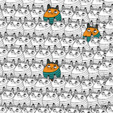 Seamless pattern with hipster cute cats vector illustration. Stock Image
