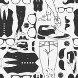 Seamless pattern with hipster elements Royalty Free Stock Photography