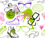 Seamless pattern with hipster fashion accessories Royalty Free Stock Images