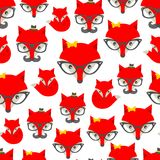 Seamless pattern with hipster fox. stock illustration
