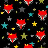 Seamless pattern with hipster foxes. Royalty Free Stock Image