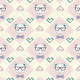 Seamless pattern with hipster polar bear