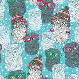 Seamless pattern with hipster polar owls. Vector repeated background Royalty Free Stock Photo