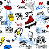 Seamless pattern with Hipsters teens doodles. Stylish graphic seamless background in youth style of hipsters or emo teens doodles Stock Image