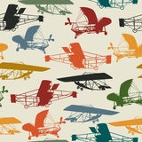 Seamless pattern with historical planes Royalty Free Stock Photography