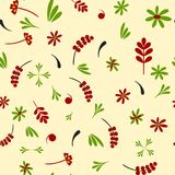 Seamless pattern Hohloma-red green Stock Photography