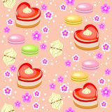 Seamless pattern. Holiday cakes in the form of heart, strawberry, marshmallows and flowers. Suitable as a gift wrapping for royalty free illustration